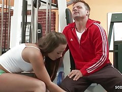 REAL NYMPHOMANIAC - Hot Teen Seduce Trainer to Sex at Gym