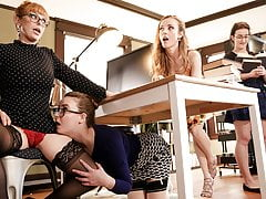 Lesbian Threesome In The Library After Closing Hour
