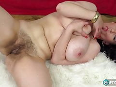 busty milf redhead touching her hairy pussy
