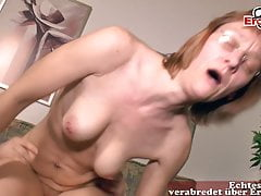 Ugly German mature housewife mom does porn casting