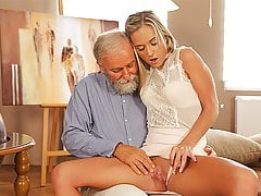 OLD4K. Enticing blonde easily seduces her old geography teacher…